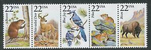 USA 22c Animals strip of 5 Beaver, White tailed Deer, Blue Jay, Pikea, Bison MUH