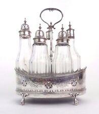 Hester Bateman Olive Oil 5p Cruet Set Crystal Glass Sterling Silver London 1788