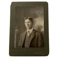 Antique Cabinet Card Photograph Handsome Edwardian Young Man Canyon City, Texas