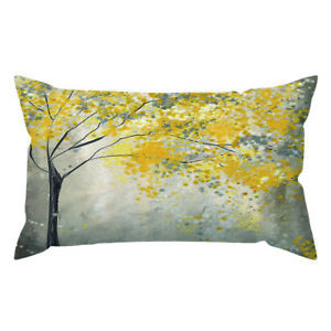 """12x20"""" Yellow Teal Pink Decorative Cushion COVER Double Sided Lumbar Pillow Case"""