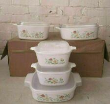 Retro 5 Piece set of Corning Ware Casserole Dishes w/ Lids Autumn Meadow Pattern