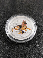 0,25 AUD 999 Silbermünze Perth Mint Lunar Jahr des Hund 1/4 oz Farbe in Kapsel