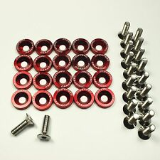 RED 20 PC BILLET ALUMINUM FENDER/BUMPER WASHER/BOLT ENGINE BAY DRESS UP KIT