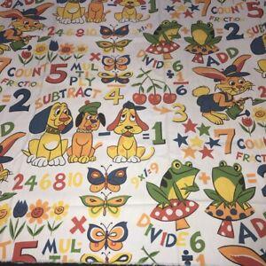 "Vintage House & Home Fabric Childrens Cartoon Animals Math 45""Wx46""L Cotton Duck"