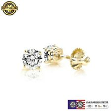 1.00 Carat F VVS2 Ideal Cut Diamond Stud Earrings in 14K Yellow Gold