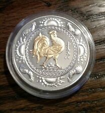 2005 Mongolia 500 Togrog gilded rooster 1 oz .999 silver new in original case