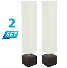2 Set Rice Paper Floor Lamp White Shade Wood Square Living Room Office Pack Pair