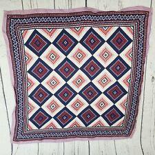 Retro Vintage Diamond Pattern Head Scarf / Bandanna Fabric Square 25.5 x 25.5