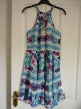 Mantaray Turquoise Multi Floral Tiered Boho Beach Dress UK 10 EUR 36-38 US 6