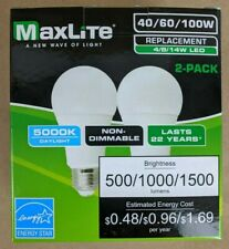 2 Pack LED Bulbs 3 Way 40/60/100W Replacement Daylight 5000k Maxelite 22 Years