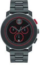 Movado Bold Chronograph Black Dial Dark Grey SS Band Quartz Mens Watch 3600272