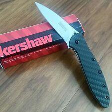 NEW Kershaw Leek 1660CF Stonewash 154CM Blade, Carbon Fiber Handle