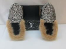 NWT International Concepts Slippers Silver Color w/ Faux Fur Trim SM 5-6