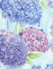 "Timeless Treasures Hydrangea Harmony-C5225-Sky 100% cotton Fabric Remnant 33"""