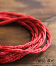 Twisted coloured fabric lighting cable flex: Red - vintage - sold per metre