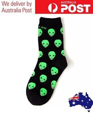 CUTE ALIEN SOCKS - BLACK CASUAL MID LENGTH - FUNNY TUMBLR FASHION - FREE POSTAGE