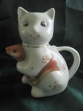 Chinese Teapot Cat With Fish Gold Koi Carp Made In China