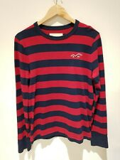 HOLLISTER Striped Red Black Long Sleeve T-Shirt Size M Cotton