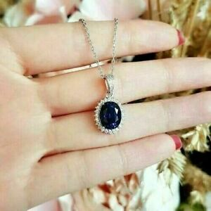 2Ct Oval Cut Blue Sapphire Diamond Halo Pendant 14K White Gold Over Free Chain