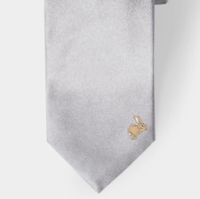 Paul Smith Tie - BNWT Men's Grey Rabbit Embroidered 100% Silk Tie RRP: £90