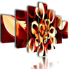 """HUGE EXTRA LARGE CANVAS PICTURES WALL ART ORANGE ABSTRACT SPLIT MULTI PANEL 80"""""""