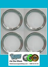 """15"""" Smooth Step Stainless Beauty Rings sold set of 4 hot rod ford chev"""
