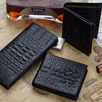 Men's Genuine Crocodile Leather Black Wallet Coin Purse Card Holder Case Clutch