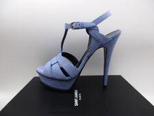 Yves Saint Laurent Tribute 105 Denim Blue Platform Sandals $995 37 7