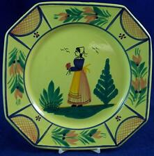 Quimper SOLEIL YELLOW Octagonal Female Luncheon Plate Finer Detail LIGHT USE