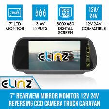"""7"""" LCD Rearview Mirror Monitor 12v 24v 3av for Reverse Camera 4pin 7 Inch Truck"""