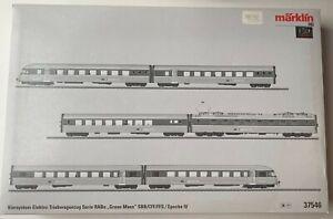 MARKLIN HO SBB GRAUE MAUS RAIL CAR SET 6 PARTS mfx DIGITAL SOUND      37546