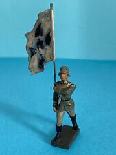 Lineol Soldat Fahnenträger Wehrmacht mit Blechfahne ca.1936, original selten Top
