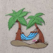 Palm Trees - Blue Hammock - Tropical/Beach - Iron on Applique/Embroidered Patch
