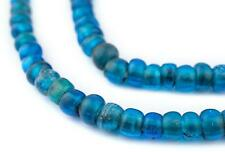 Old Translucent Brilliant Blue Padre Beads 9mm Ethiopia African Cylinder Glass