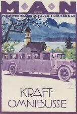 Ludwig Hohlwein - Farbige Werbegraphik 20er Jahre - Motiv MAN Kraft-Omnibusse