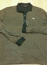 EUC LACOSTE MENS 5 (MED)  3 BTN  DOWN L/S POLO SHIRT BLACK / BROWN  CHECK 903
