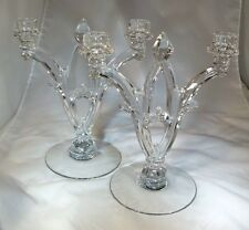 "HEISEY GOTHIC #402 CRYSTAL PAIR 11"" TALL 2-LIGHT CANDELABRA CANDLEHOLDERS"