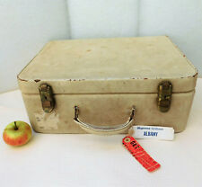 Vintage white suitcase Morton Leather hand luggage 1960s 1970s weekend case
