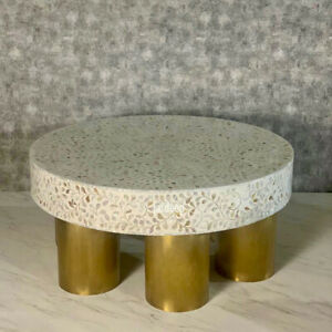 Handmade Mother of Pearl Inlay White Coffee Table