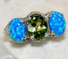 Sterling Silver Art Deco Style Ring Rn14 Sz 7 5ct Green Peridot Blue Opal 925