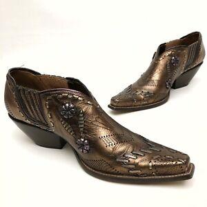 ✅🔴✅$ BCBGirls Women's Western Cowbo Shoe Bootie 8.5 Eu38.5 Bronze Leather Ankle