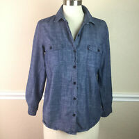 Old Navy Womens Denim Shirt Button Down Collared Relaxed Cotton Size S Petite