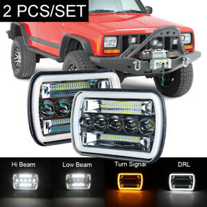 Pair 7X6 LED Headlight Black 6052 For Jeep Wrangler YJ  86-95 Cherokee XJ Chevy