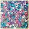 100 Unicorn Mix Pony Beads Pink Blue Purple Glitter Frosted Hair Dummy Jewellery