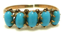 ANTIQUE VICTORIAN NOUVEAU PERSIAN TURQUOISE 10K YELLOW GOLD RING BAND SIZE 5.75
