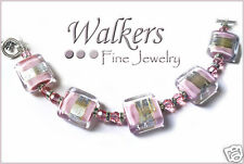 Murano Glass Pink and Silver Incalmo Bracelet