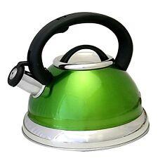 3 QT Quart Stylish Green Stainless Steel Easy Pour Whistling Tea Kettle