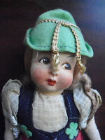 """Vintage 1930s Jointed Cloth Blonde Ethnic Girl Doll 9 3/4"""" Tall"""