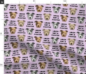 Purple Pitties Pit Bulls Pit Bull Face Little Spoonflower Fabric by the Yard