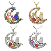 """Moon Cat Glass Beads Cage Memory Floating Locket 20"""" Necklace Steel Chain"""